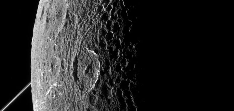 Illustration for article titled Dione Looks Stunning In The Latest Picture From Cassini