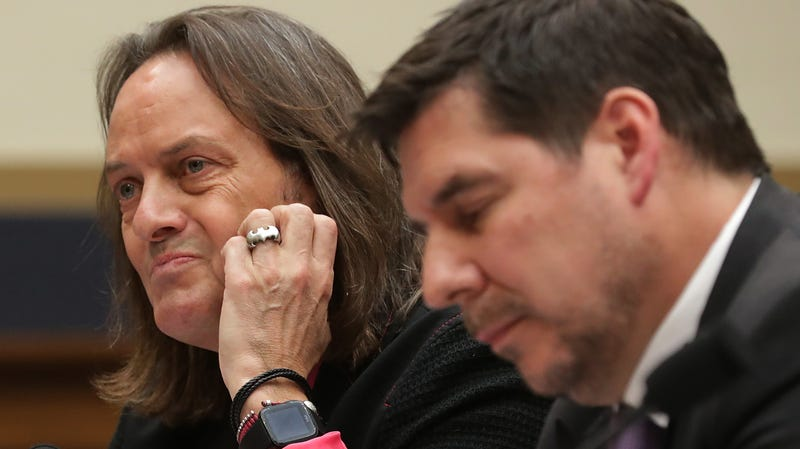T-Mobile CEO John Legere (L) and Sprint Executive Chairman Marcelo Claure testify before the House Judiciary Committee's Antitrust, Commercial and Administrative Law Subcommittee in the Rayburn House Office Building on Capitol Hill March 12, 2019 in Washington, DC.