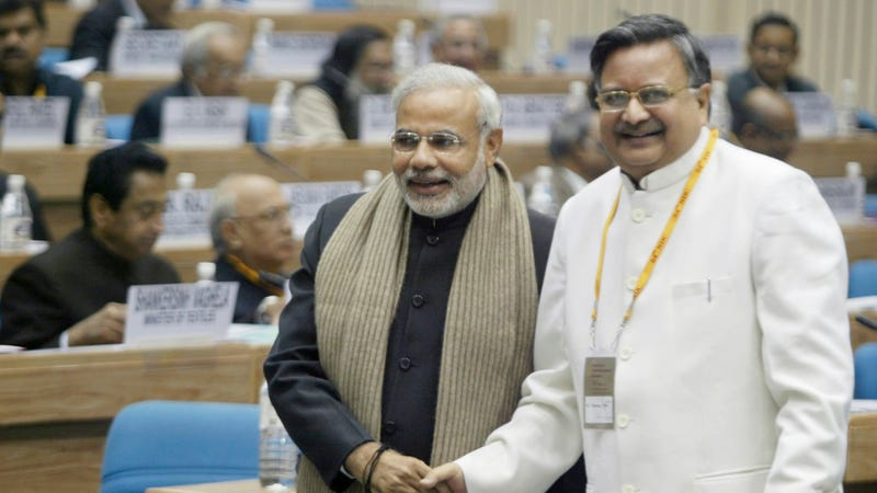Indian Prime Minister Narendra Modi (then the chief minister of Gujarat province), and Chhattisgarh Chief Minister Raman Singh, seen at the 54th National Development Council meeting in New Delhi in 2007.