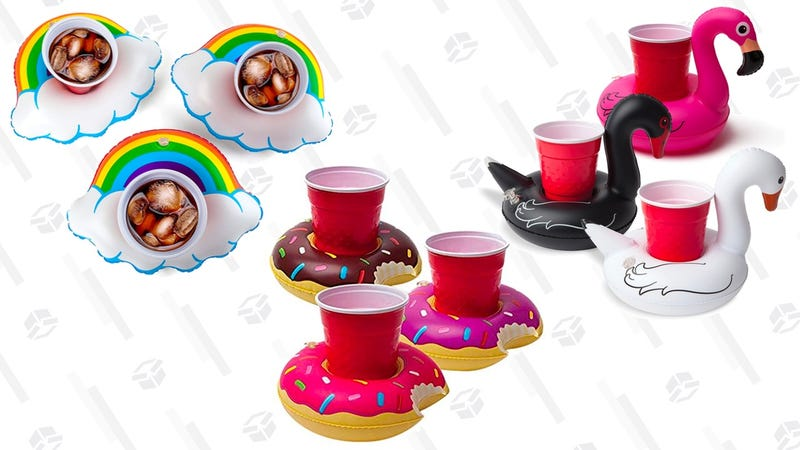 BigMouth Inc. Inflatable Happy Rainbow Drink Float, 3-pack | $5 | AmazonBigMouth Inc. Inflatable Bird Pool Cupholder Floats | $5 | AmazonBigMouth Inc. Inflatable Donut Drink Holder Float | $5 | Amazon