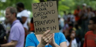"A protester at a recent ""Justice for Trayvon"" rally (Win McNamee/Getty Images)"