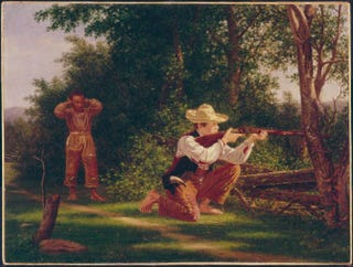 William Moore Davis, Drawing a Bead on a Woodchuck, 1850s. Oil on canvas, 40.6 cm by 54 cm.Butler Institute of American Art, Youngstown, Ohio