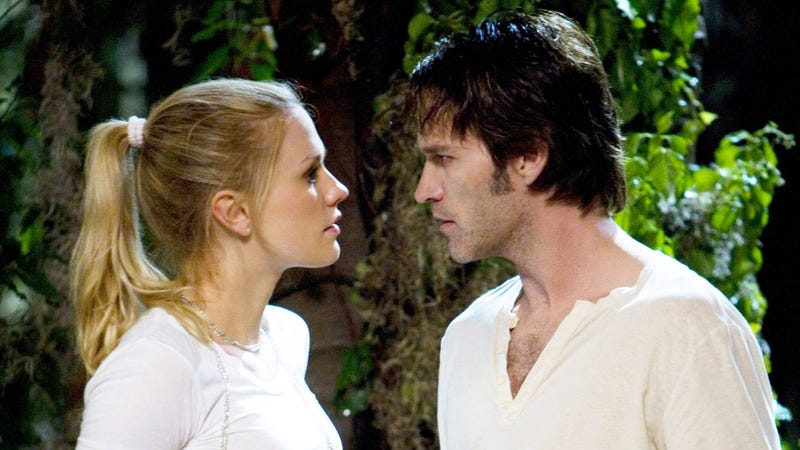 Anna Paquin as Sookie Stackhouse and Stephen Moyer as Bill Compton.