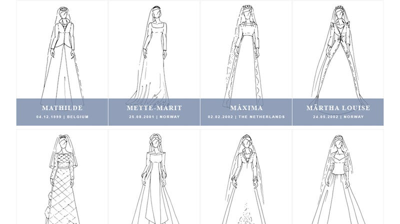 Illustration for article titled A Century of Royal Wedding Gowns in One Handy Graphic