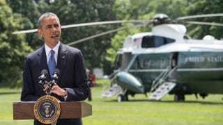"""President Barack Obama makes a statement on Iraq on the South Lawn of the White House on June 13, 2014. """"We will not be sending U.S. troops back into combat in Iraq, but I have asked my national security team to prepare a range of other options that could help support Iraqi security forces,"""" Obama said.NICHOLAS KAMM/AFP/Getty Images"""
