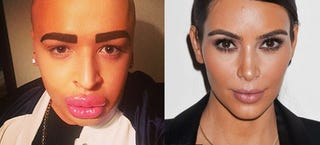Illustration for article titled Guy spends $150,000 in plastic surgery to look like Kim Kardashian