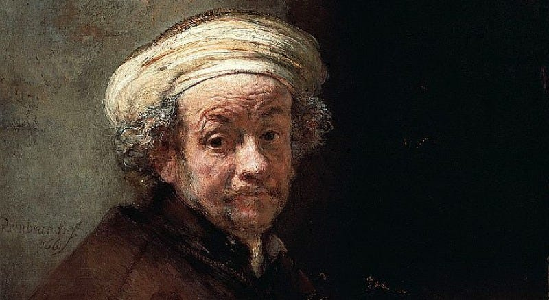 Detail from Rembrandt's Self-Portrait as the Apostle Paul (1661).