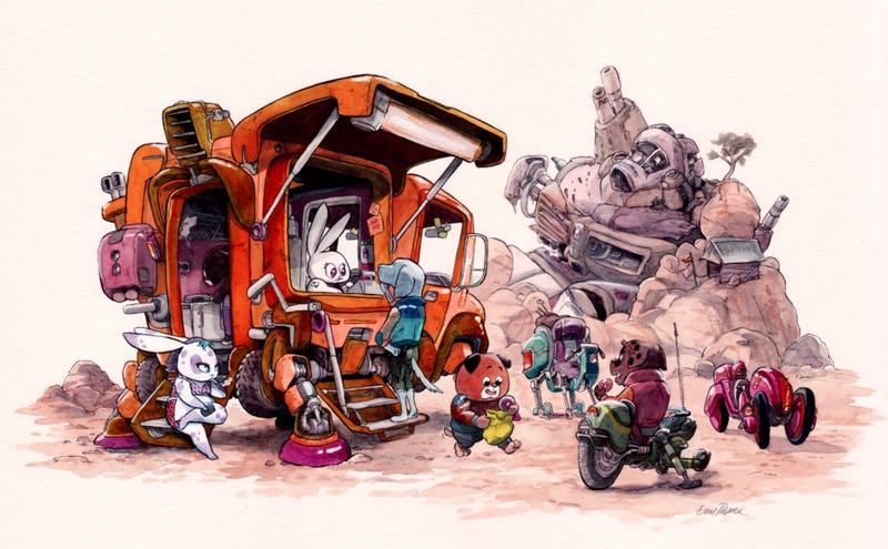 Illustration for article titled These Cartoon Animals Are The Most Adorable Mech Pilots In The Universe