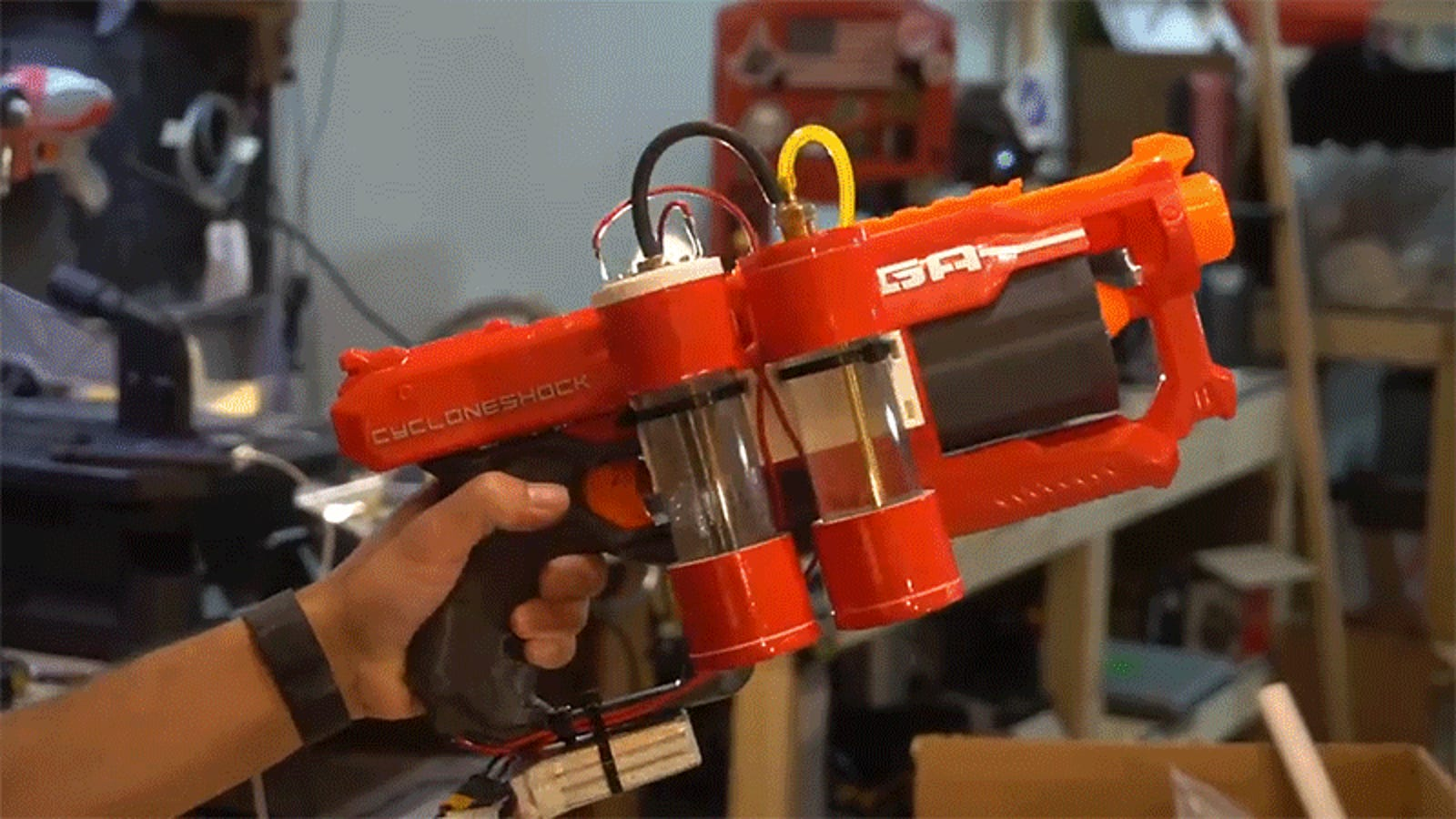 This Customized Hydrogen-Powered Nerf Blaster Makes Its Own Explosive Fuel