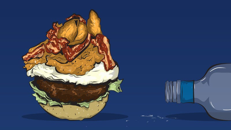 Illustration for article titled How to Make a 4 a.m. Bacon-Onion Ring Burger That Will Save Your Life