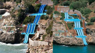 Illustration for article titled This Epic Water Slide Makes You Forget Your Face Is Melting Off