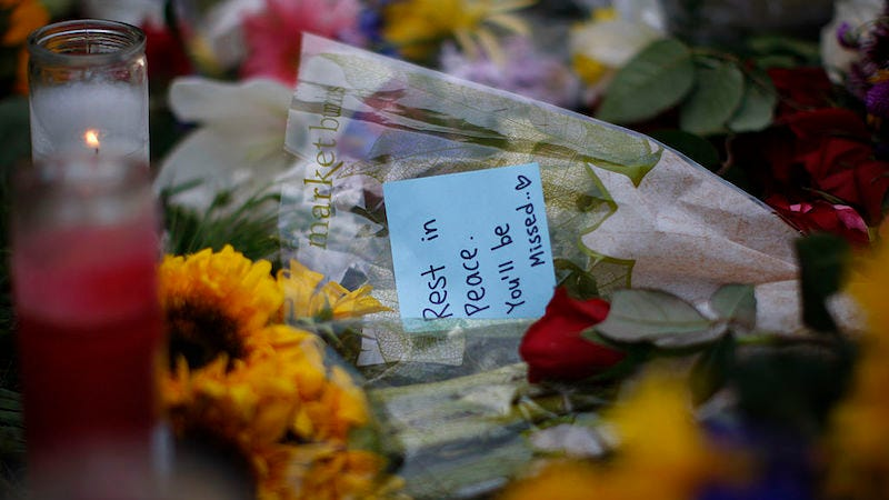 A makeshift memorial is seen on the lawn of the Alpha Phi sorority house in Isla Vista, California.