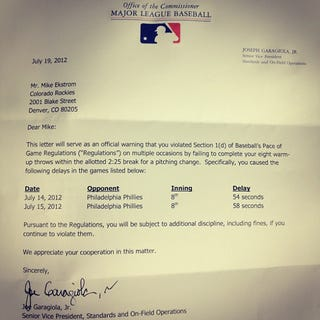 Illustration for article titled MLB Speeds Up Games By Sending Strongly Worded Letters To Slow Pitchers