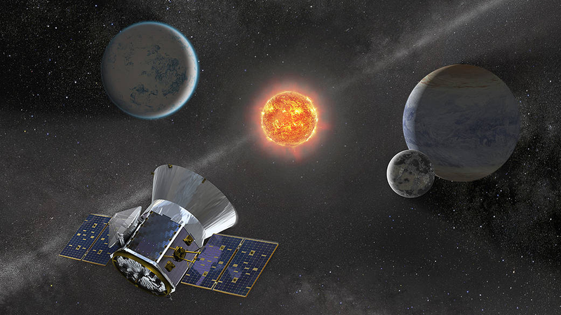Artist impression of Tess alongside a rather unlikely configuration of planets around a star