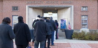 The line at University Heights Library polling place outside Cleveland at 6:45 a.m. (Afi-Odelia E. Scruggs)