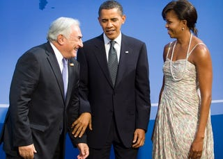 DSK meets President and Mrs. Obama in 2009 at the G-20 Summit.