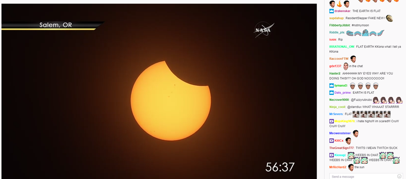 Illustration for article titled Tens Of Thousands Of People Are Watching The Eclipse On Twitch And Freaking Out