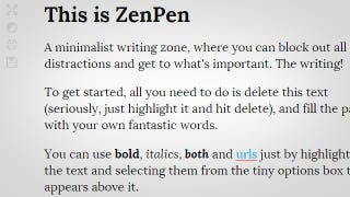 Illustration for article titled ZenPen is a Dead Simple, Distraction Free Writing Zone on the Web