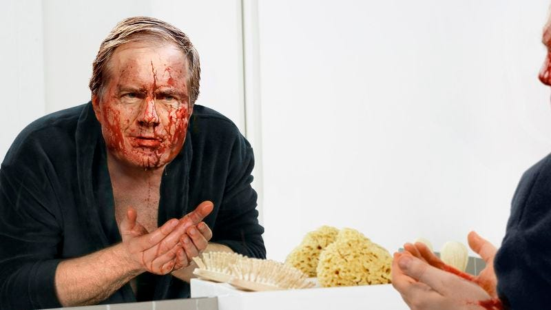 Illustration for article titled Exhausted Bill Belichick Attempts To Wake Up By Splashing Some Blood On His Face