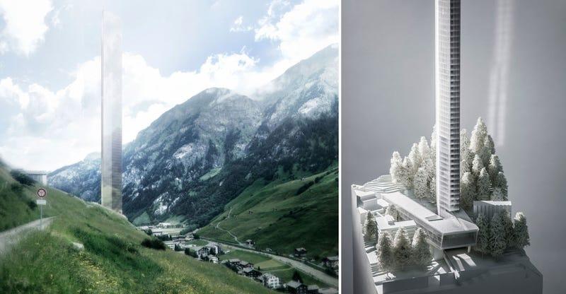 Illustration for article titled Aprueban un polémico rascacielos de 381m para un pequeño valle suizo