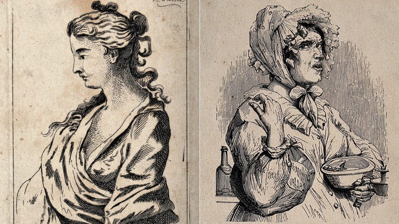 Etching of a prostitute by Wenzel Hollar; etching of a nurse by J. Orrin, both at the Wellcome Collection