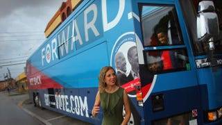 Democratic National Committee Chairwoman Debbie Wasserman Schultz of Florida exits the DNC and Obama for America Gotta Vote Bus in Miami's Little Havana neighborhood Oct. 25, 2012.Joe Raedle/Getty Images