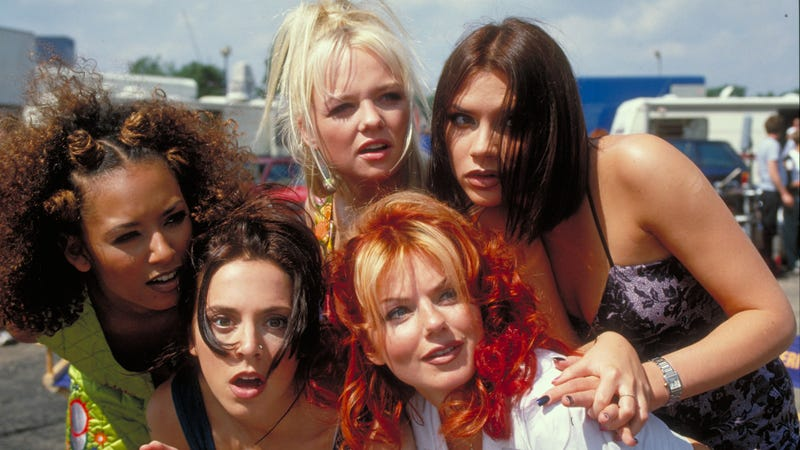 Left to right: Melanie Brown (Scary), Melanie Chisholm (Sporty), Emma Bunton (Baby), Geri Halliwell (Ginger), and Victoria Beckham (Posh) having the time of their lives.