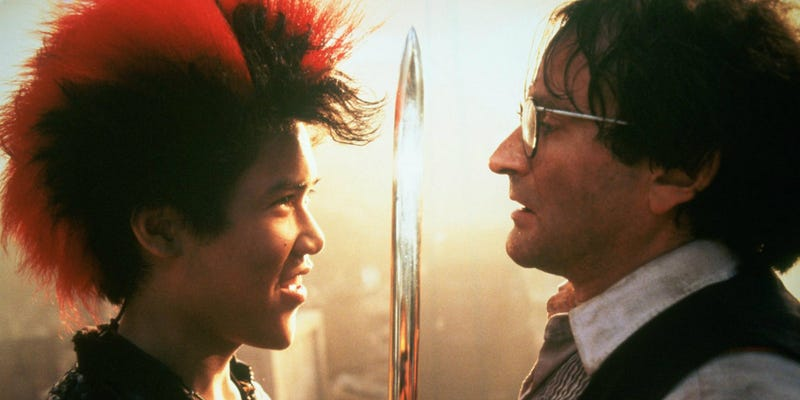Dante Basco as Rufio and Robin Williams as Peter in Steven Spielberg's Hook. Image: TriStar