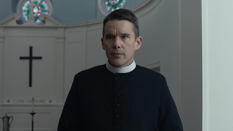 Illustration for article titled Paul Schrader's transcendent, outrageous First Reformed gives Ethan Hawke one of his best roles