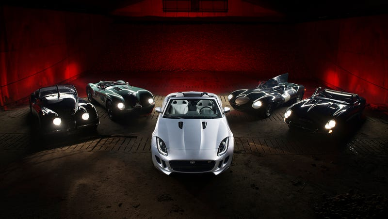 Illustration for article titled Jaguar F-Type Meets Ancestors And Sets A Record