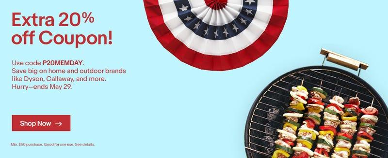 20% off Home Goods, promo code P20MEMDAY