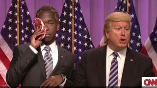 Jay Pharoah as Ben Carson and Darrell Hammond as Donald Trump in a Saturday Night Live sketch that aired March 12, 2016NBC screenshot