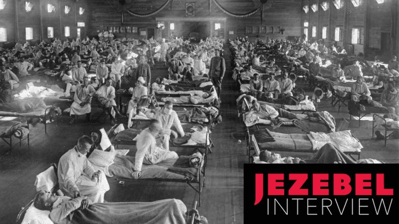 Flu patients at an emergency hospital near Fort Riley, in Kansas. Photo via AP Images.