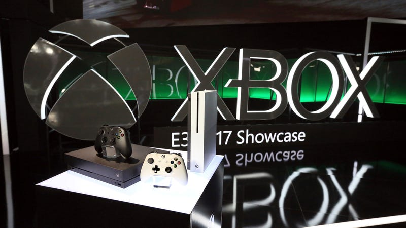Xbox One devices on display at E3 2017 in Los Angeles.