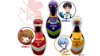 """Illustration for article titled Japan solves your """"giant Evangelion-themed bowling pin"""" cosplay needs"""