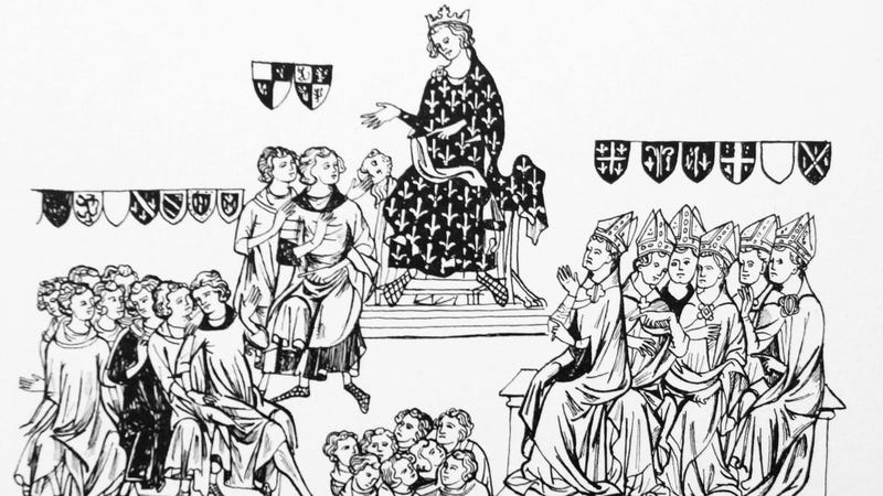 Miniature of King Philip the Fair, presiding over his bishops and laity.