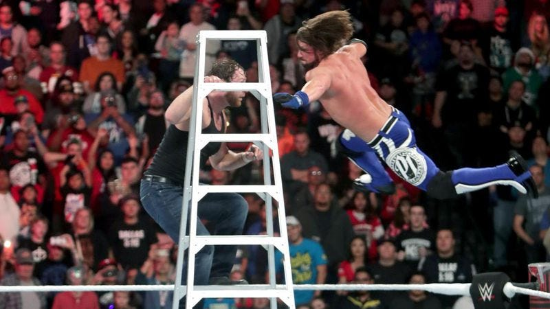 AJ Styles versus Dean Ambrose in a Tables, Ladders, And Chairs match for the WWE World Championship (Photo: WWE)