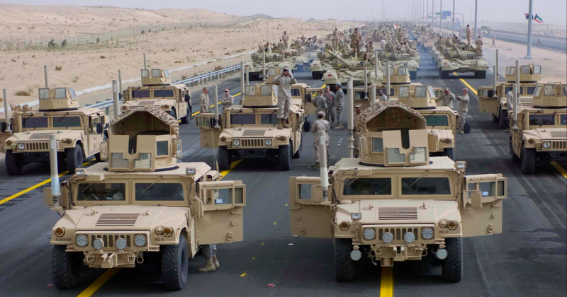 There S A Convoy Of Autonomous Army Trucks Driving Through
