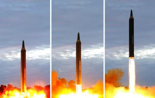 A Hwasong-12 ballistic missile launches from North Korea Tuesday. KCNA Photo