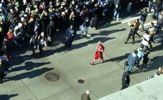 Illustration for article titled There Is A Lone 49ers Fan At The Seahawks Parade