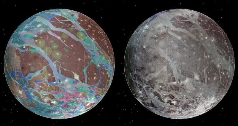 Illustration for article titled Behold the first geological map of Ganymede, Jupiter's largest moon
