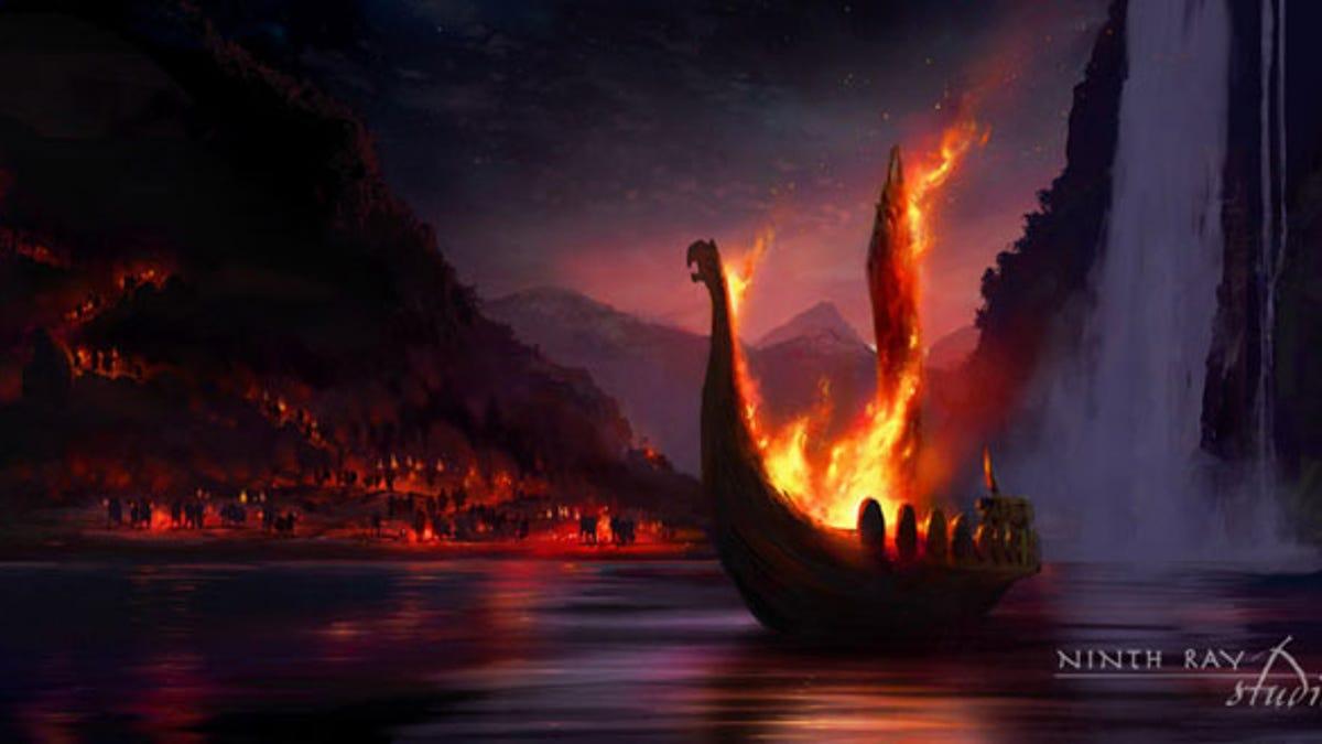 Image of Viking funeral viking ship burial