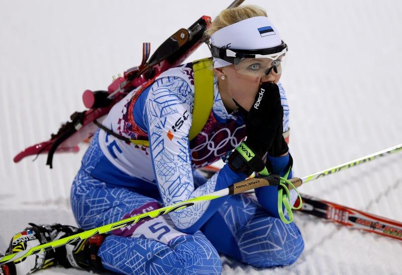 Illustration for article titled Estonian Biathlete Wears Some Intense Contact Lenses