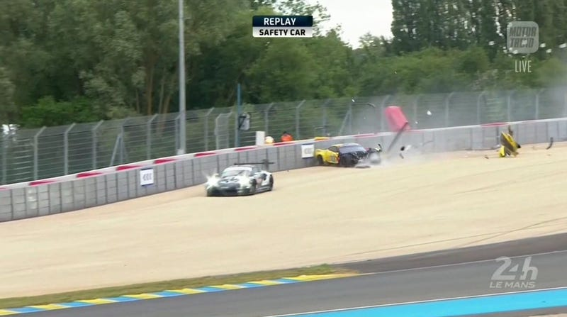 The First Big Crash of Le Mans Claims a Corvette