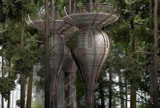 Illustration for article titled Pod-shaped treehouses for living like one of Tolkien's elves