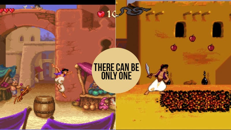 Illustration for article titled Let's Settle This Once and For All: Genesis Aladdin or Super NES Aladdin?