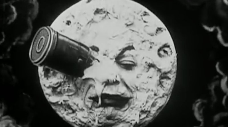 The Man in the Moon takes one for the team in Georges Méliès' 1902 space adventure A Trip to the Moon.