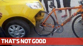Illustration for article titled Look At What A Bicycle Did To This Crappy Car