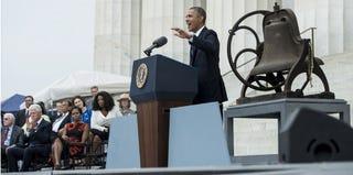 President Barack Obama speaks at the Lincoln Memorial on Aug. 28. (Brendan Smialowski/Getty Images)