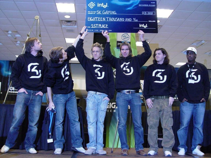 SK Gaming's Counter-Strike team celebrating their first place win at the Intel Extreme Masters 2005 (image via SK Gaming)